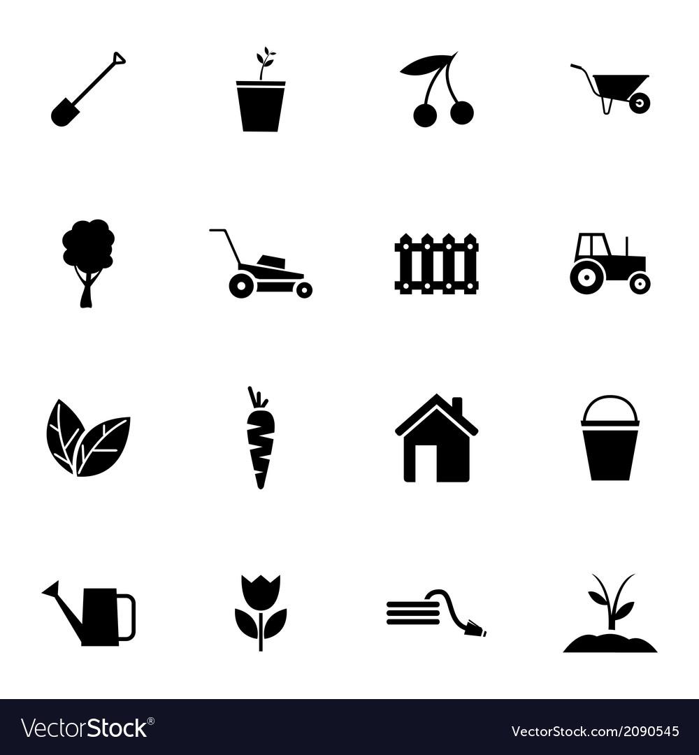 Black gardening icons set