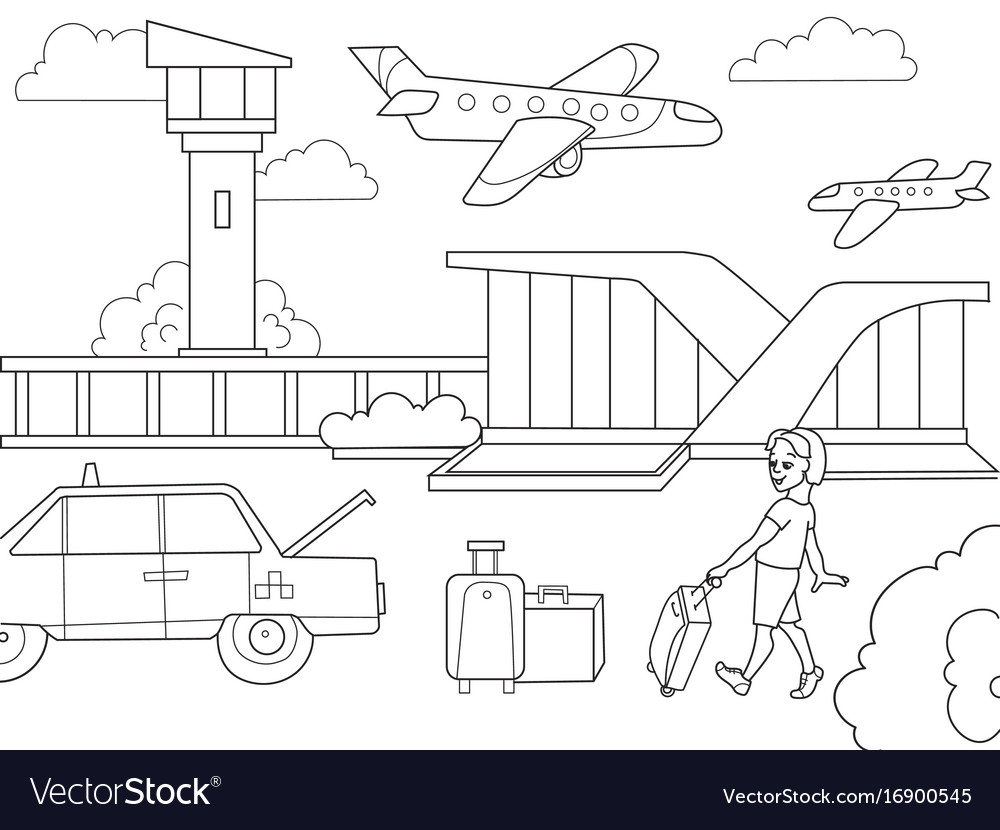 Cartoon children coloring book airport black and vector image ccuart Images