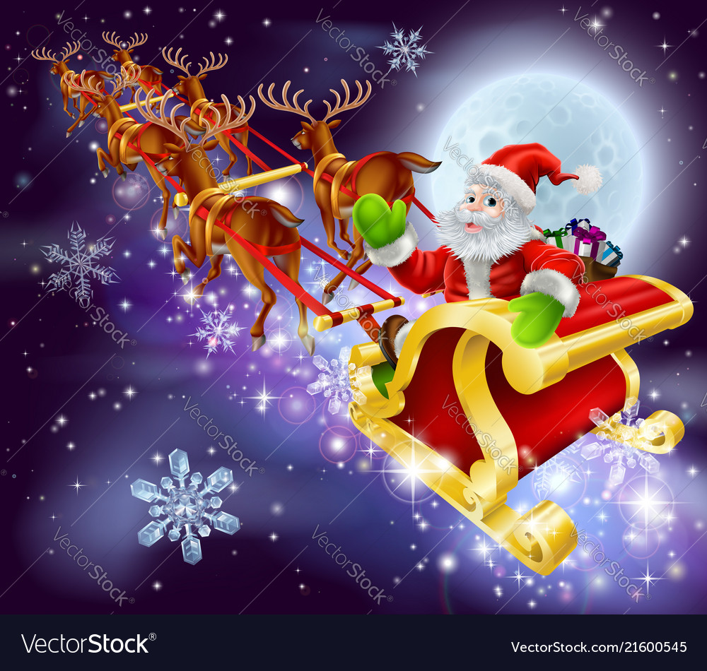Christmas santa flying in his sled or sleigh Vector Image