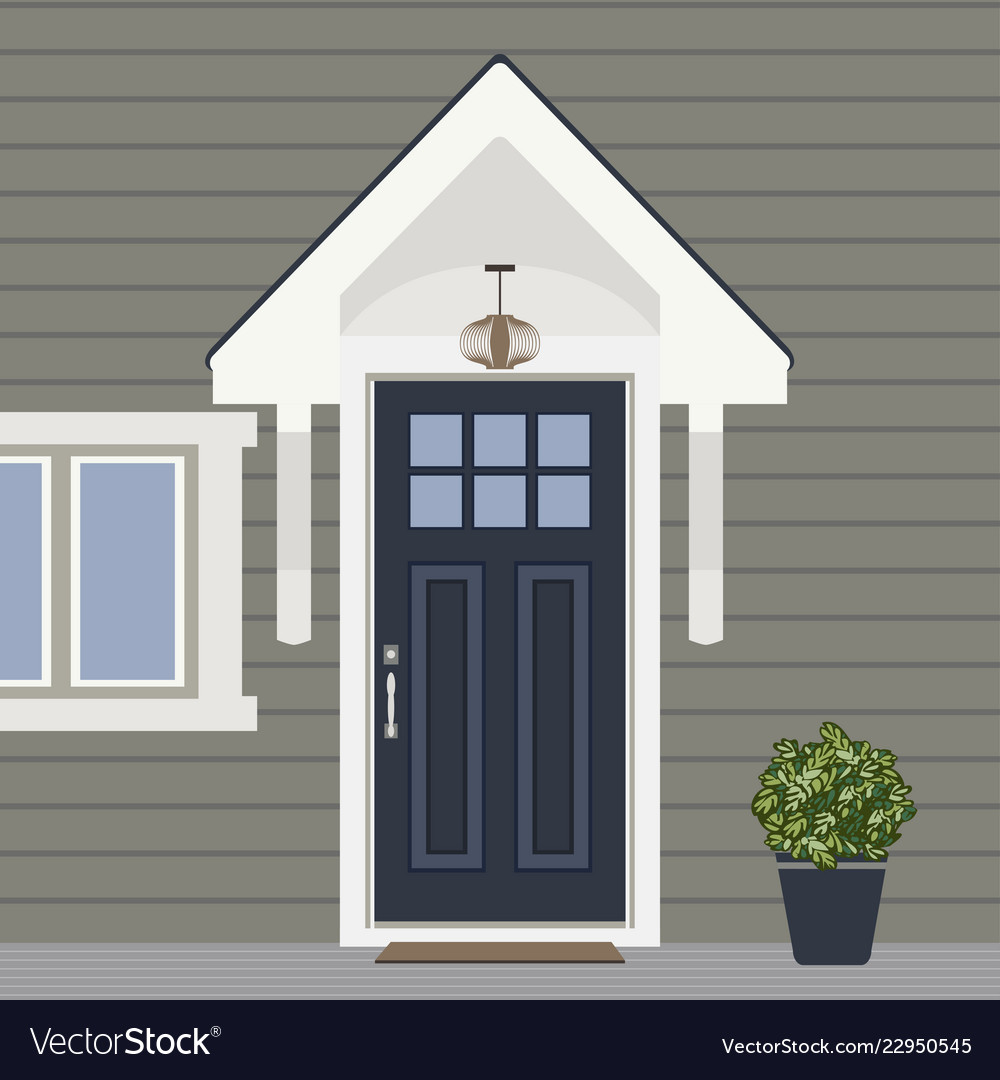 House door front with window and plants flat