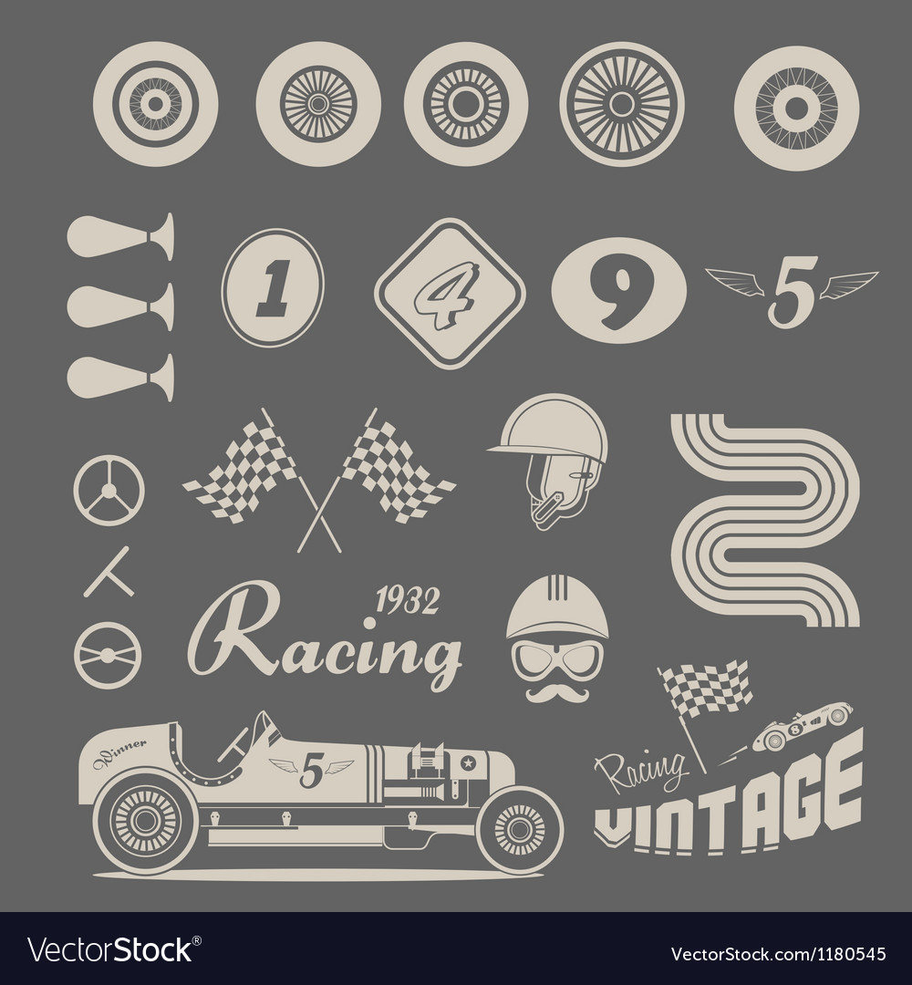 Icons of vintage car racing Royalty Free Vector Image