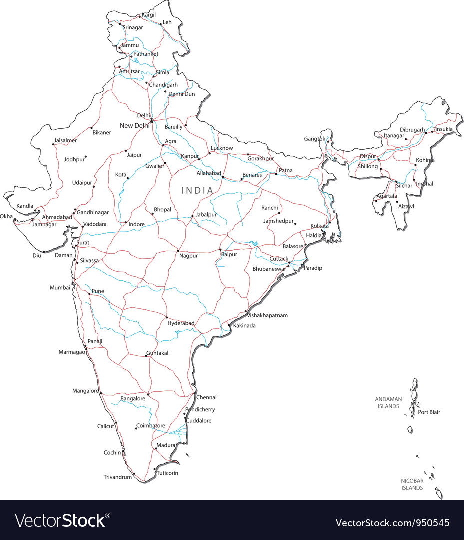 India black white map royalty free vector image india black white map vector image gumiabroncs Choice Image