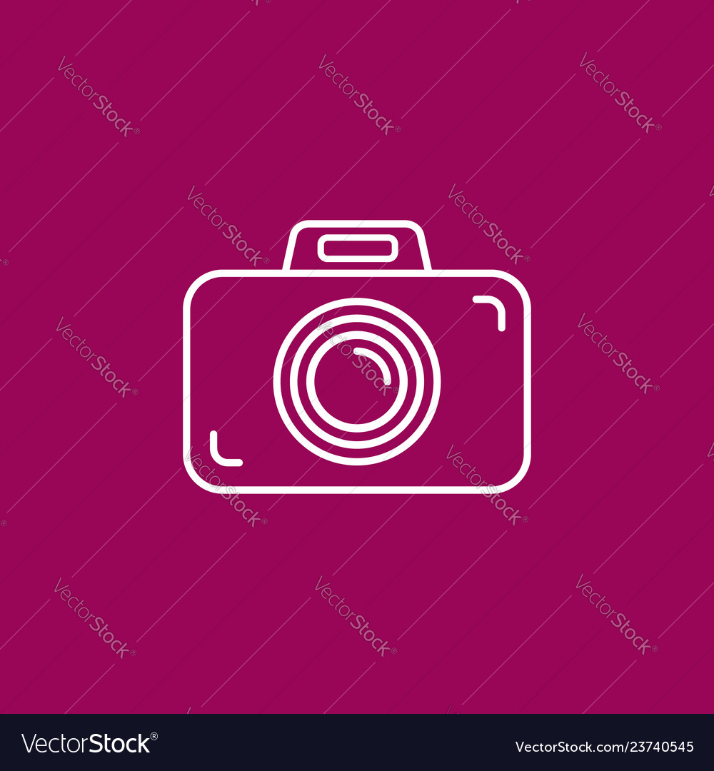 Outline photo camera icon on crimson purplepink