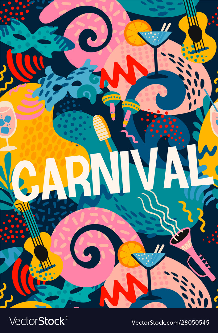 Poster with carnival objects and abstract