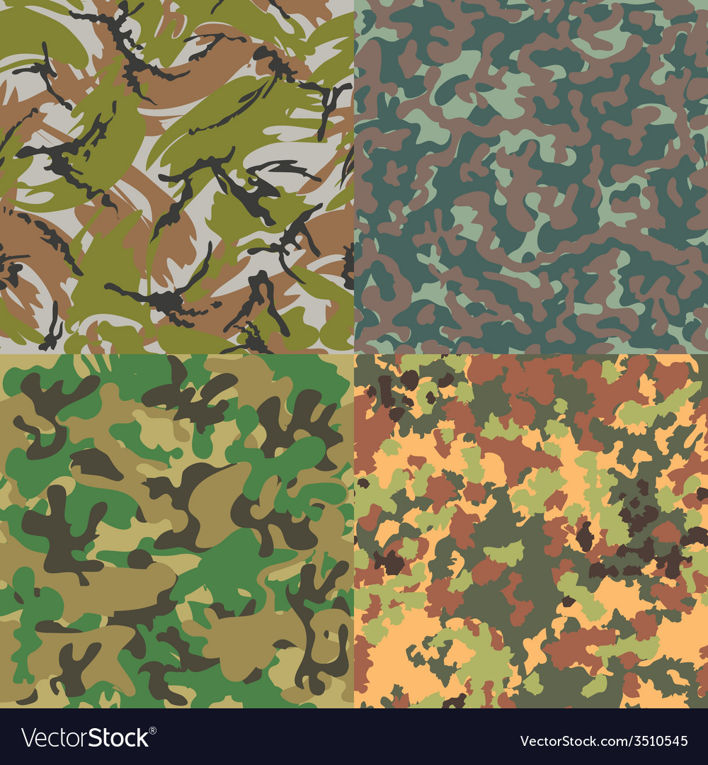 Set of seamless camouflage patterns Four kinds