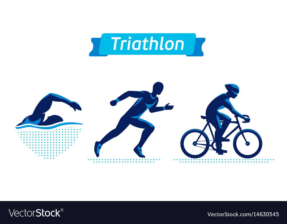 Triathlon logos or badges set figures