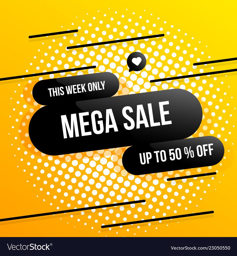 Big sale banner one day special offer mega sale