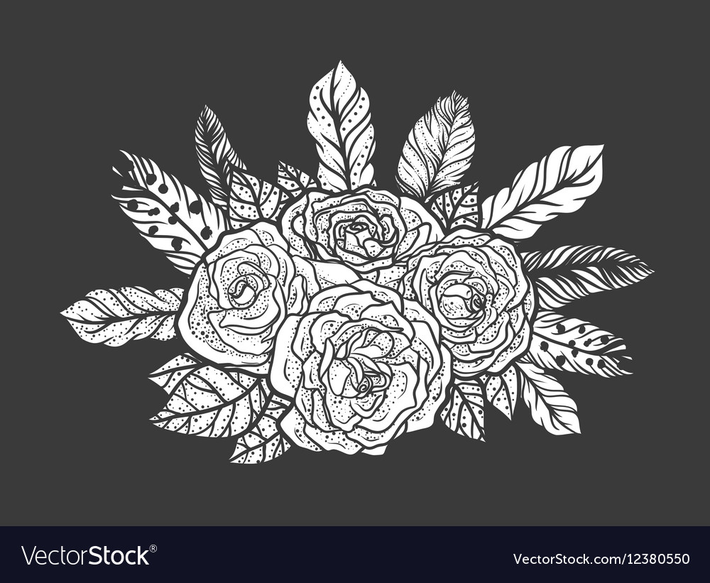 Blackwork Tattoo Of Rose And Feathers Bouquet Very