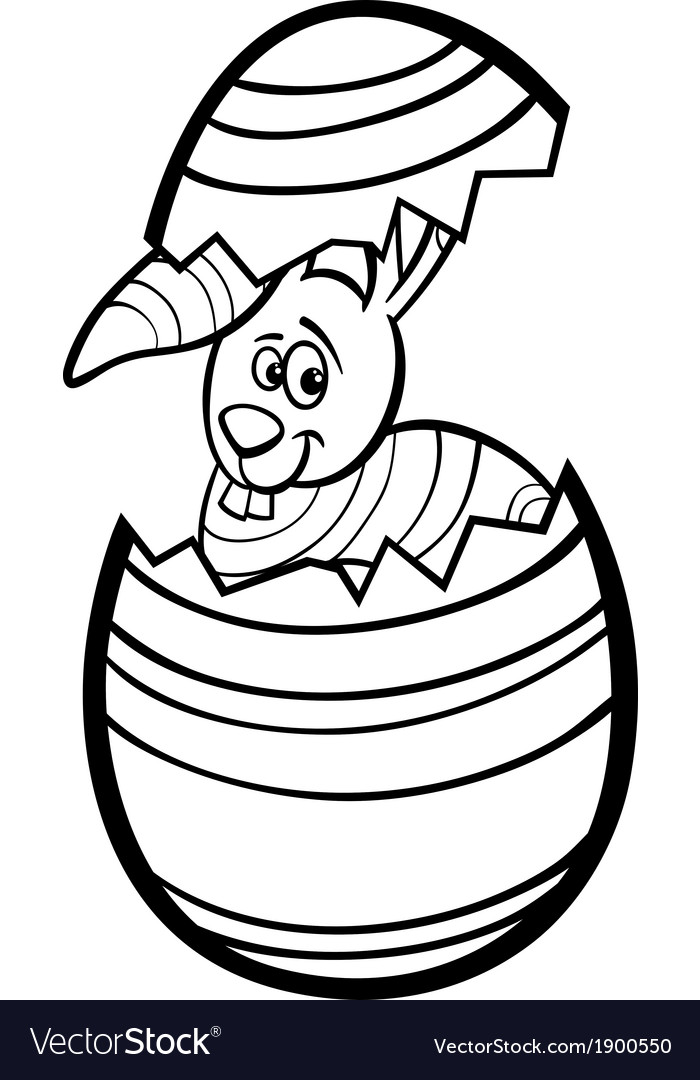 Bunny in easter egg coloring page