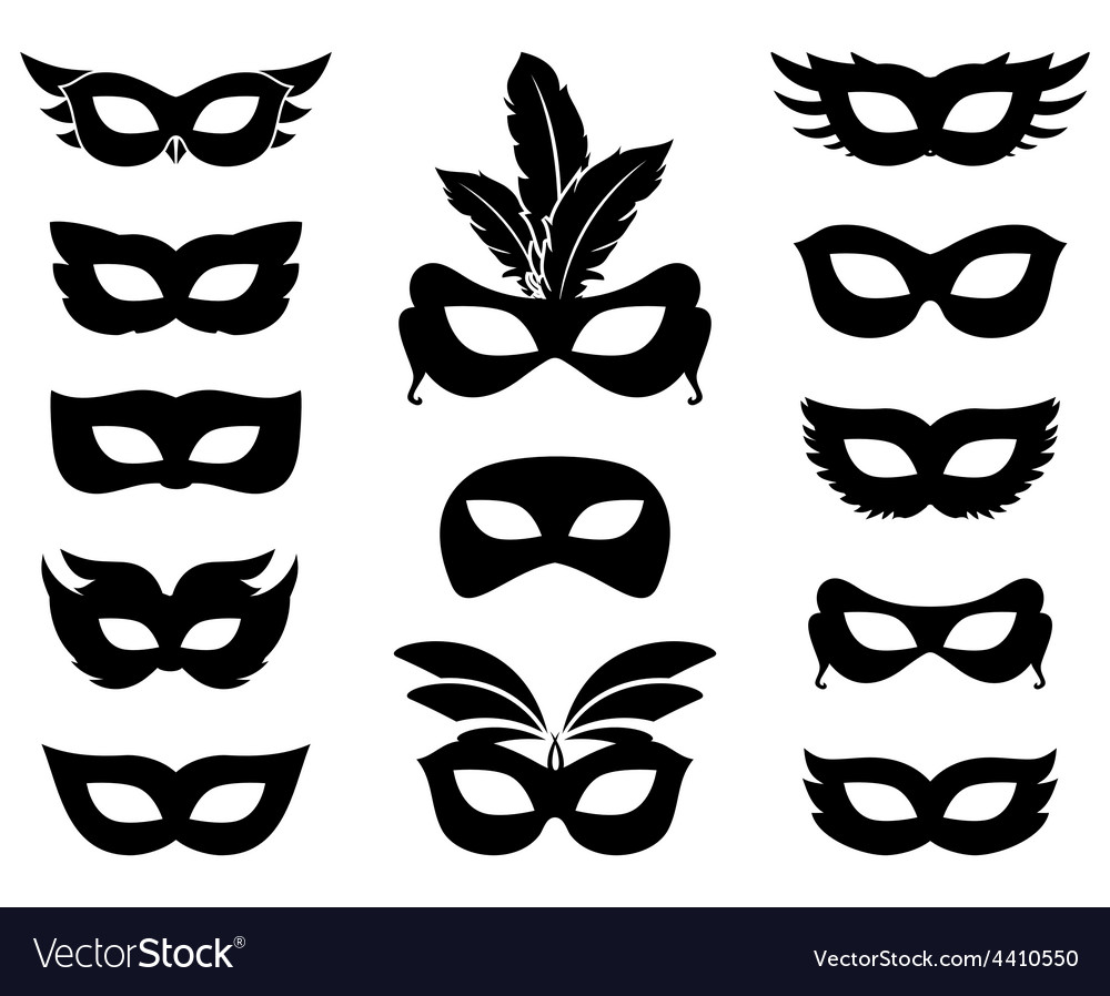Carnival mask silhouettes vector image