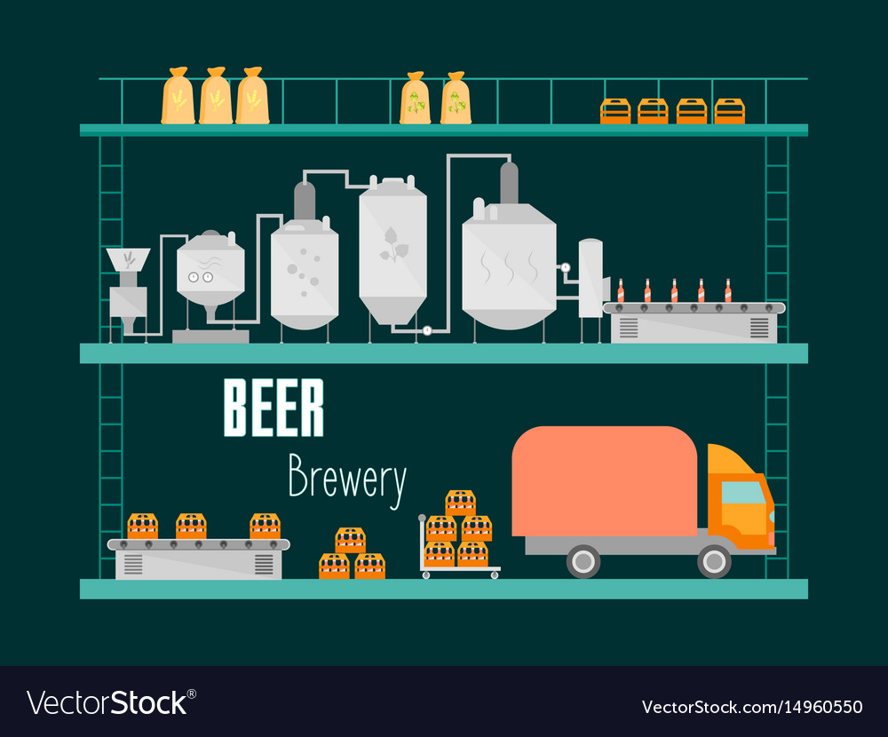 Cartoon beer brewing process production drink vector image