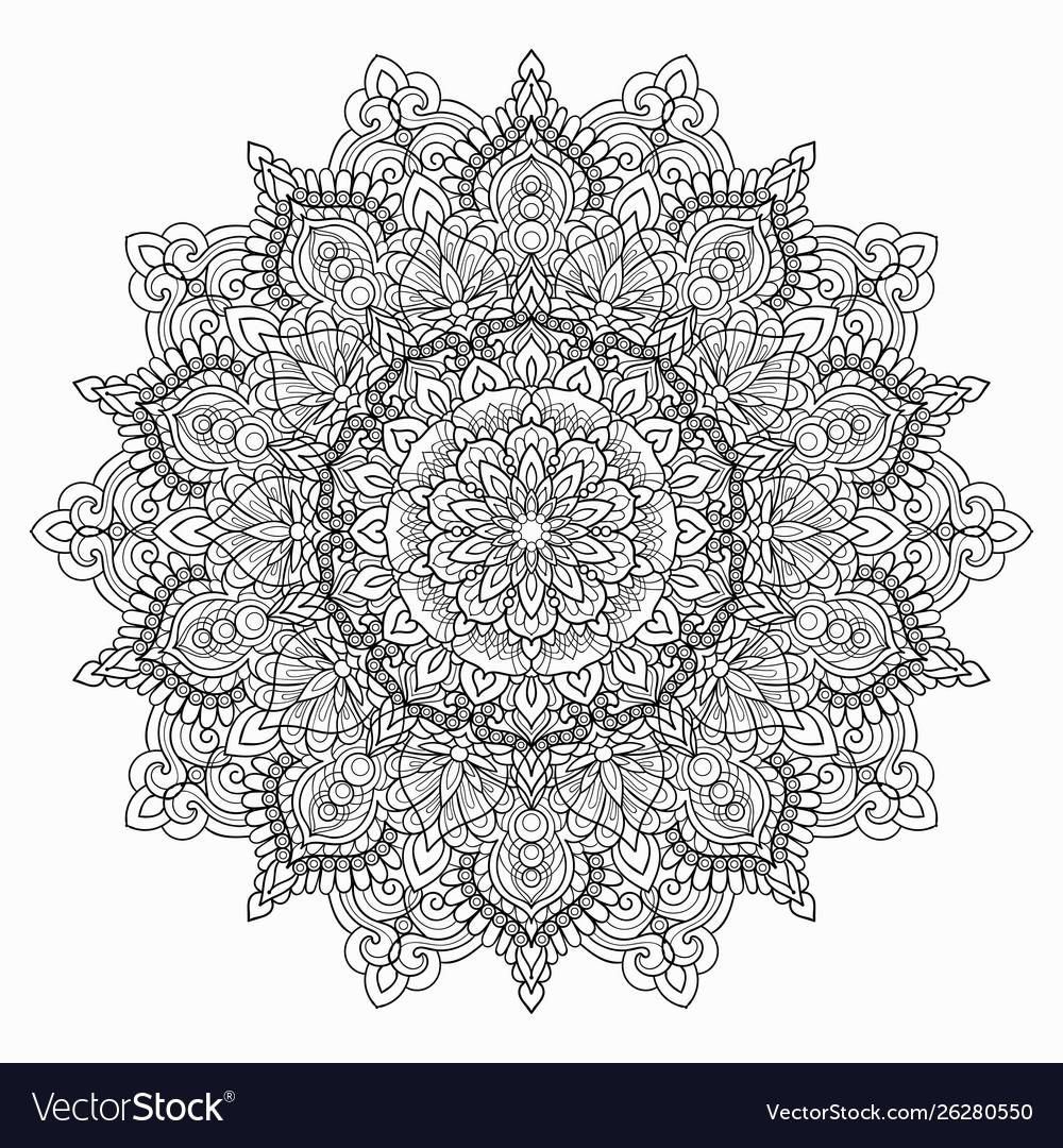 Circular black and white mandala on a white