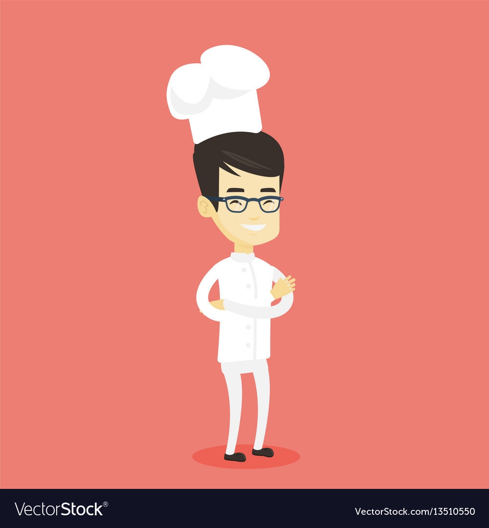 Confident male chief cook with arms crossed vector image