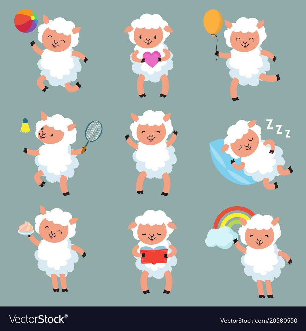 Cute baby sheep funny cartoon woolly lamb Vector Image