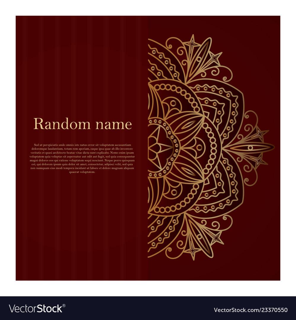 Dark burgundy card with golden mandala
