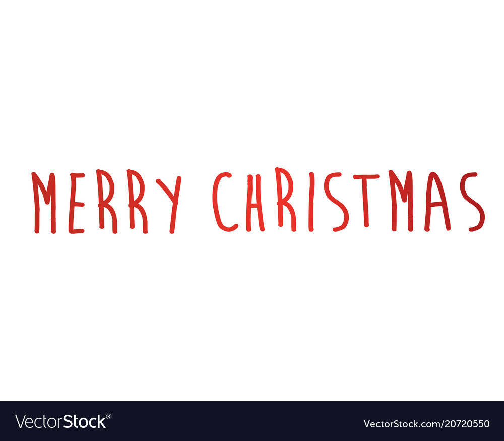 Gradient red isolated hand writing word merry vector image
