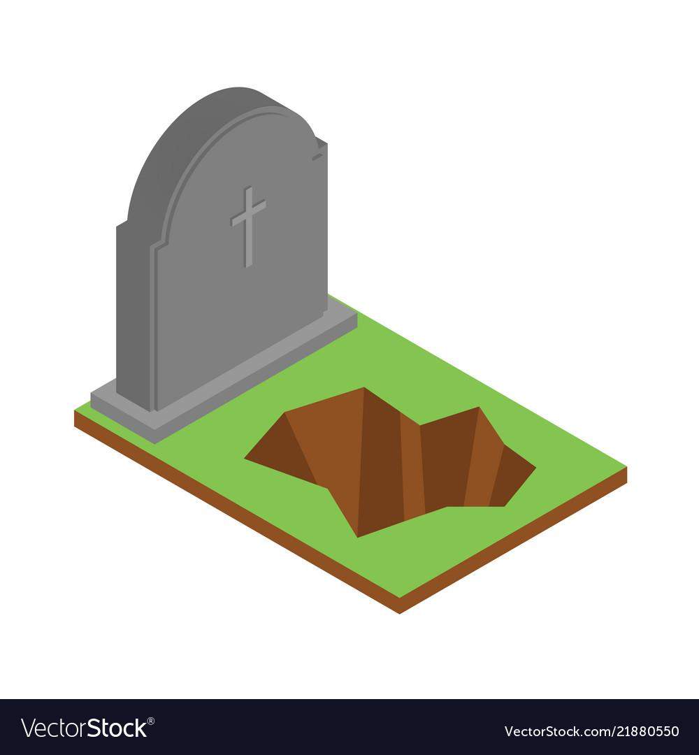 Grave icon isometric style