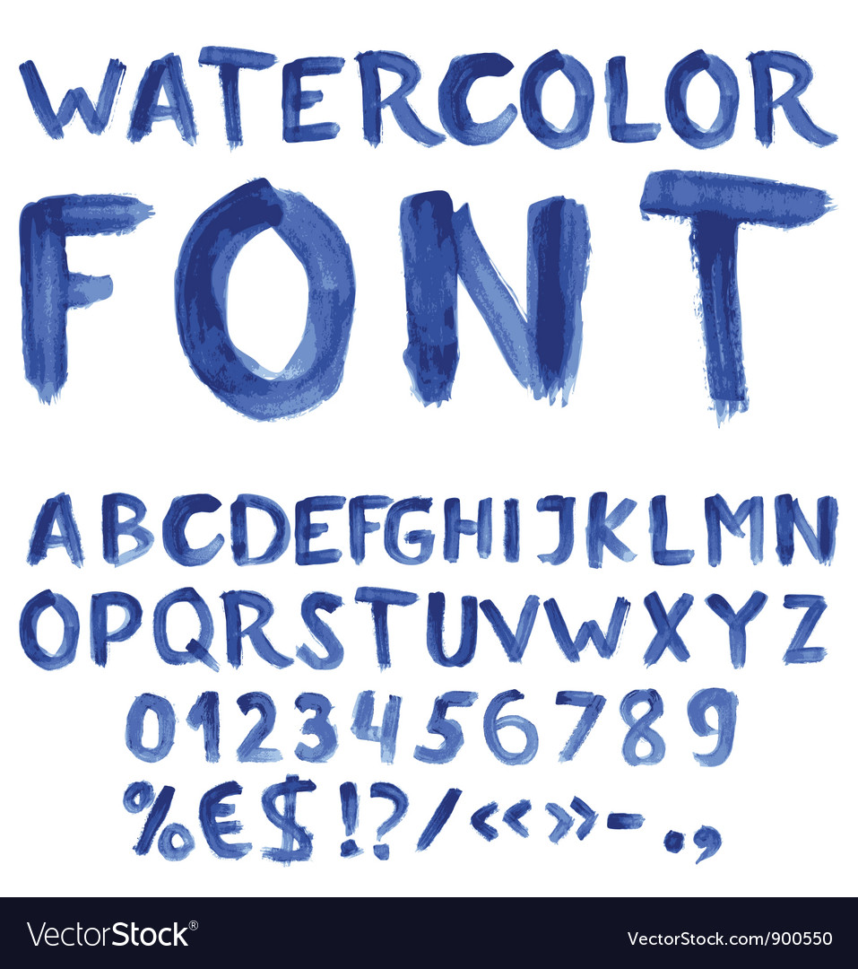 Handwritten blue watercolor alphabet vector