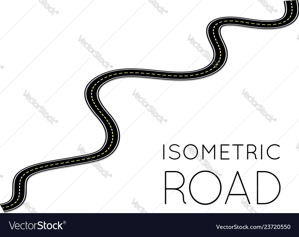 Isometric highway curved road with markings 3d