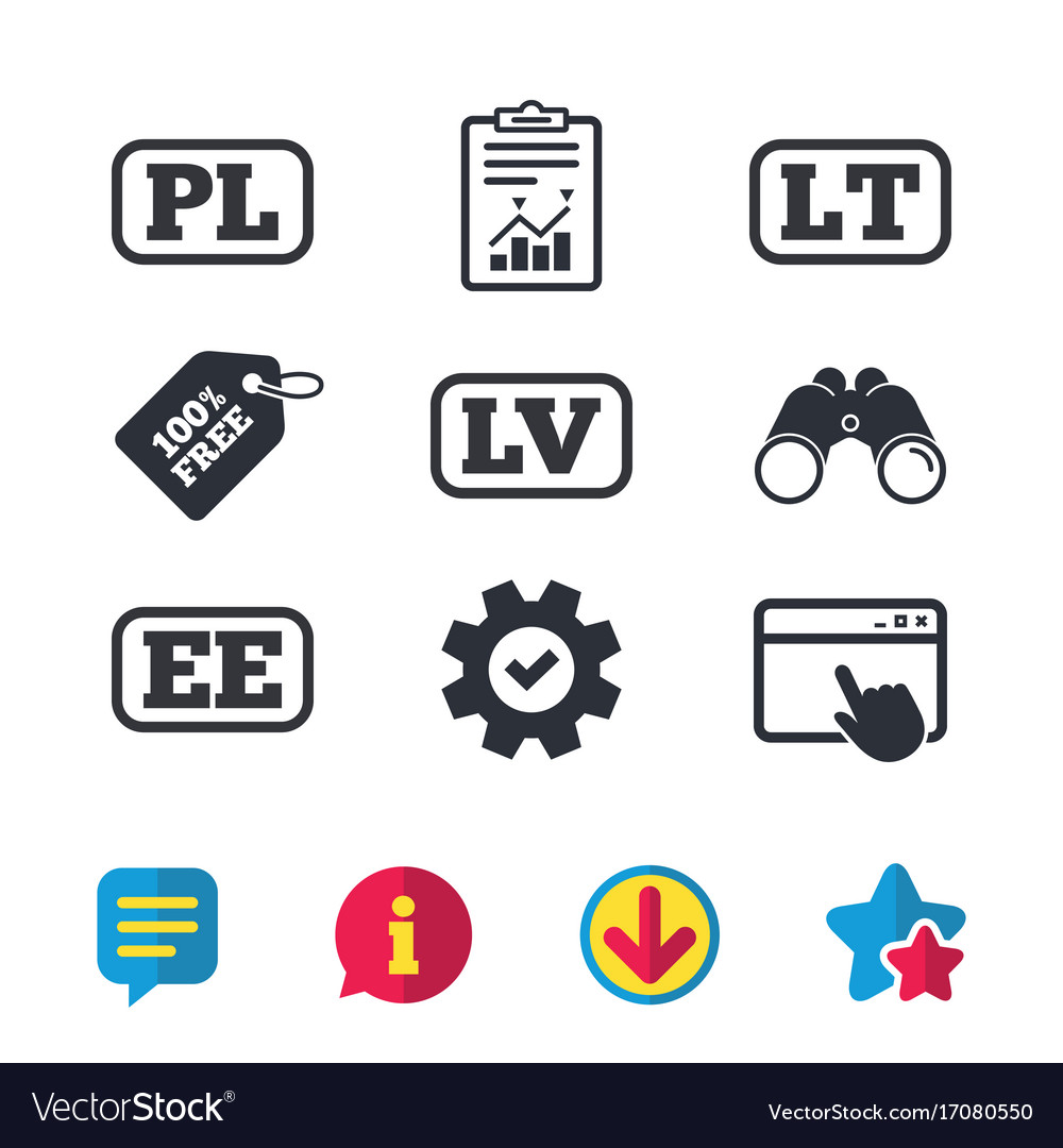 Language icons pl lv lt and ee translation Vector Image