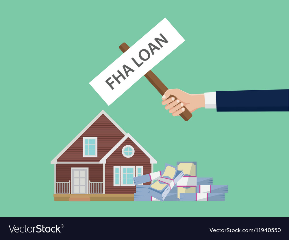 Loan fha with hand holding a poster