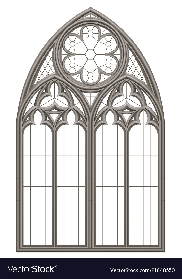 Medieval Gothic Stained Glass Window Royalty Free Vector