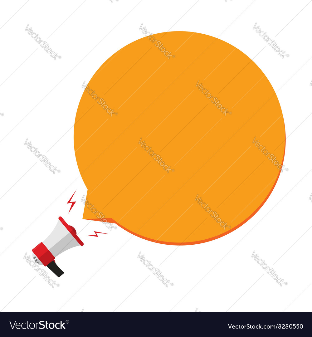 Megaphone with orange speech bubble template vector image