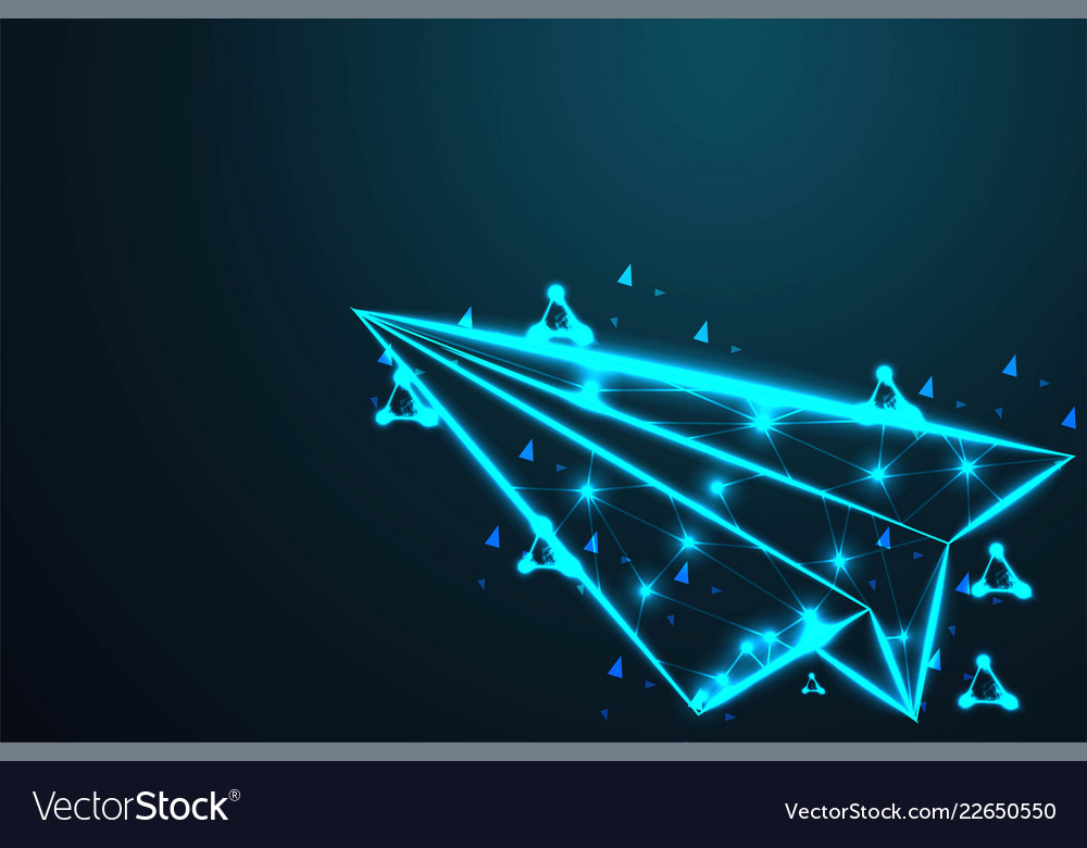 Paper airplane aircraft abstract wire low poly