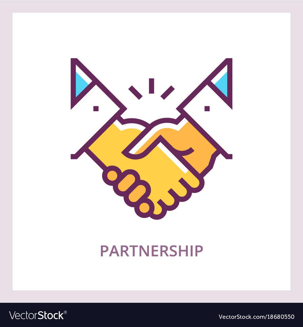 Partnership icon handshake concept