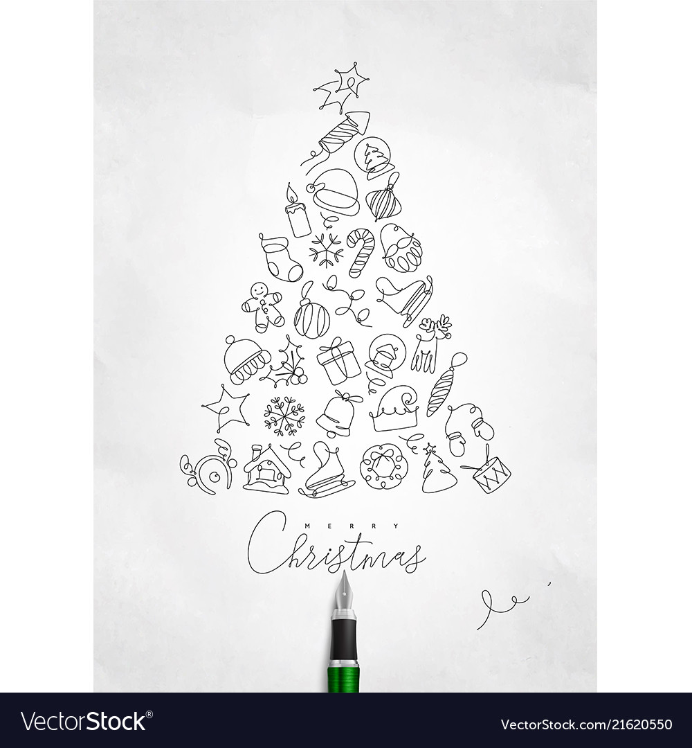 Pen line drawing christmas tree