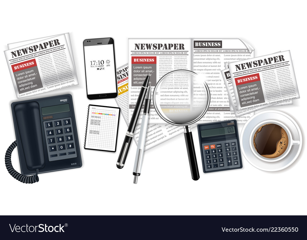 Phone gadgets coffee and newspapers