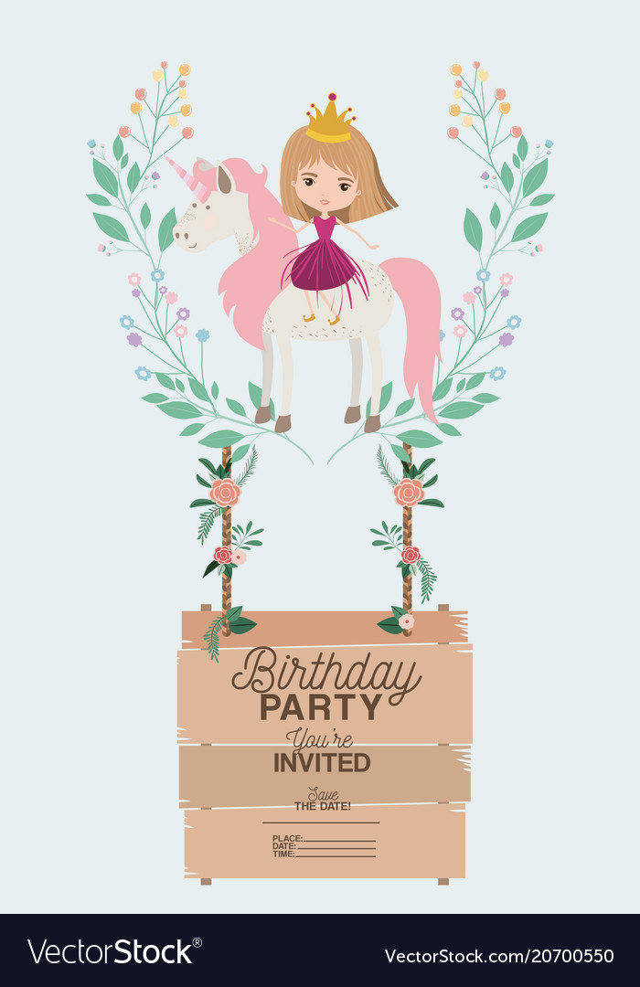 Princess with unicorn and label wooden invitation vector image stopboris Choice Image