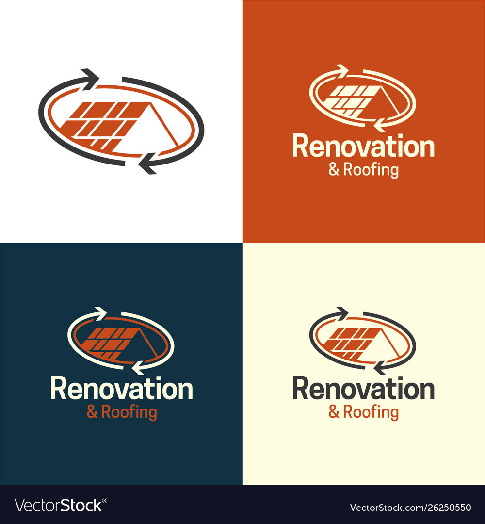Renovation and roofing real estate logo and icon