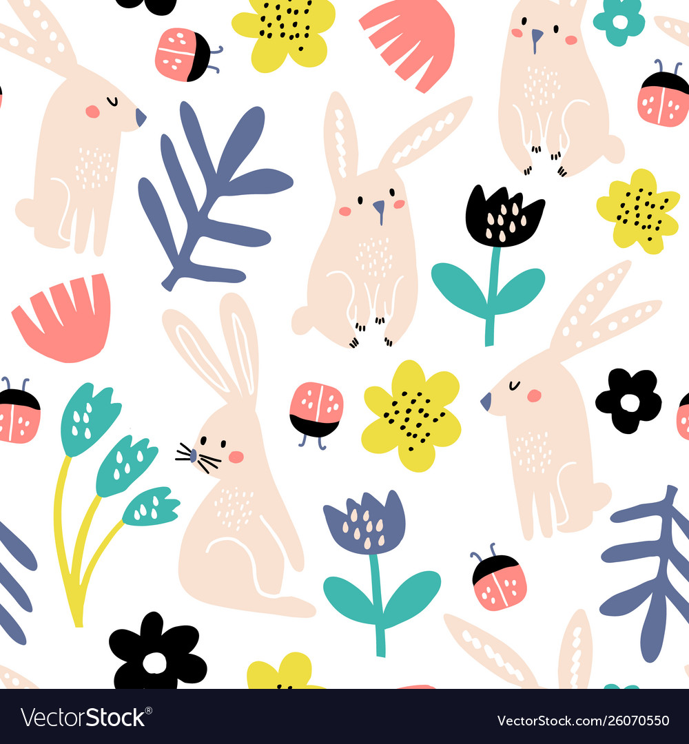 Seamless childish pattern with pink bunny flowers