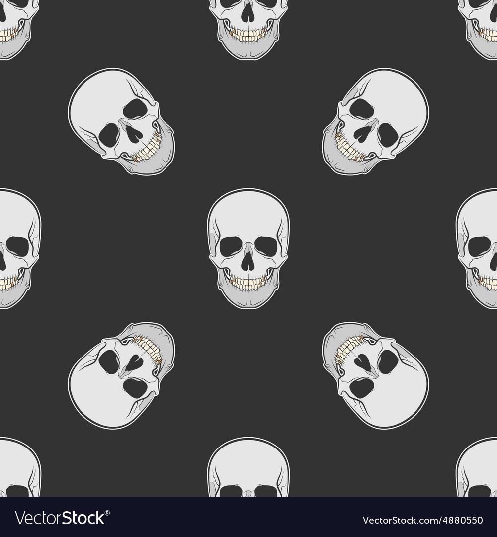 Seamless retro pattern skull