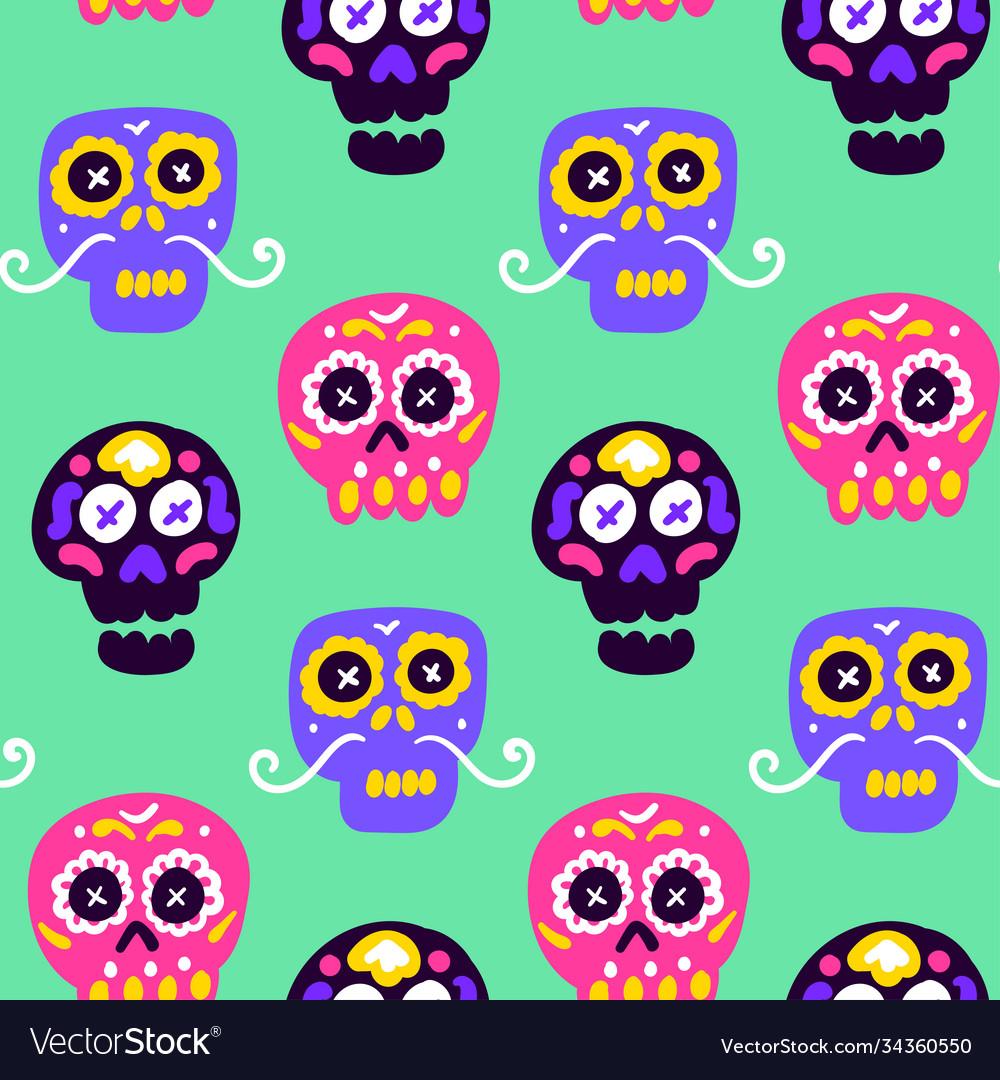 Skull dia los muertos seamless pattern