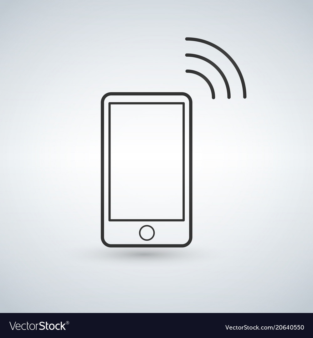Smartphone outline icon with wifi signal design