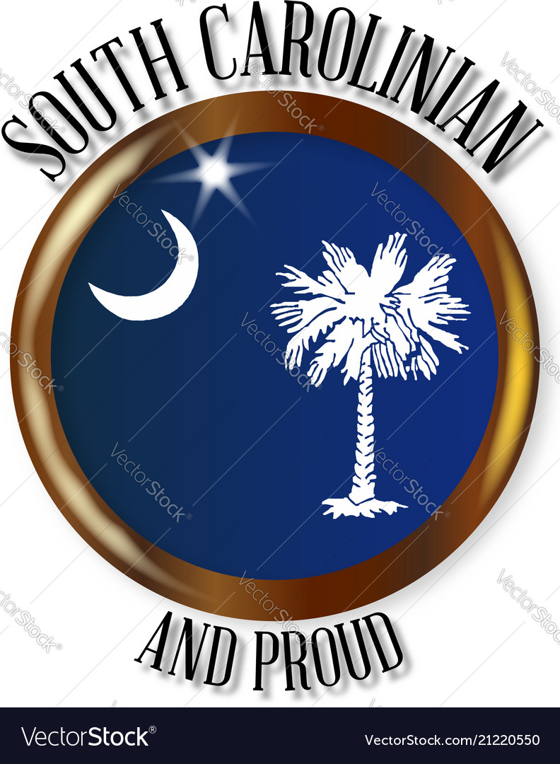 South Carolina Proud Flag Button Royalty Free Vector Image