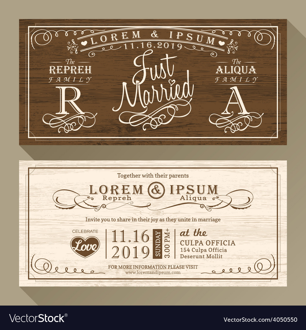 Vintage wedding invitation card border and frame vector image stopboris Choice Image