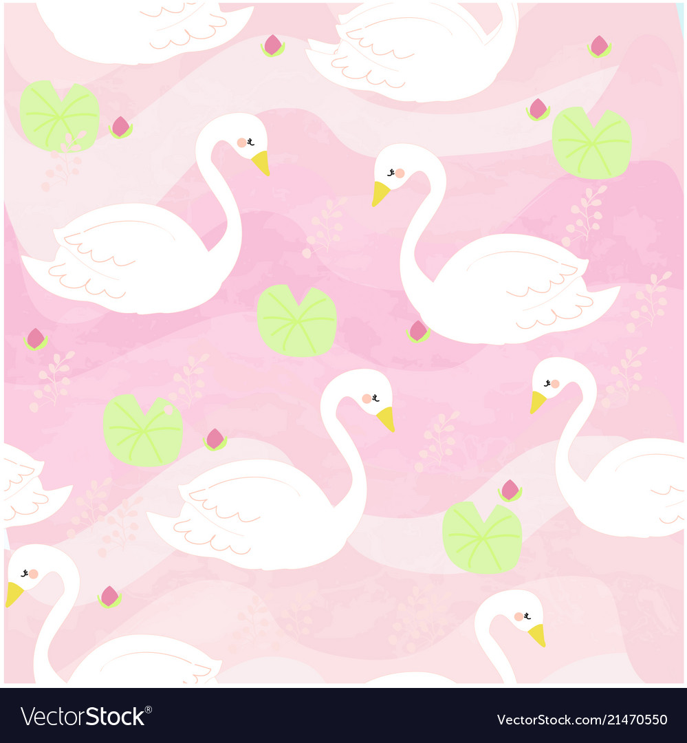 White swan cartoon the pink sweet river