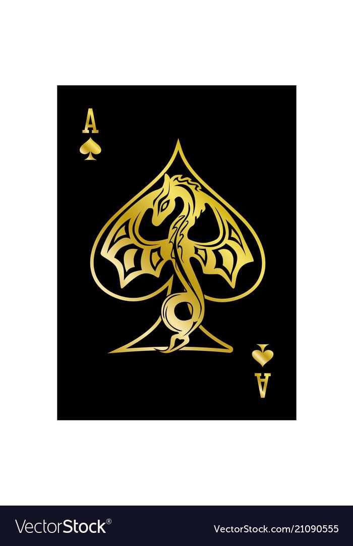 gold spade card  Ace spades dragon gold