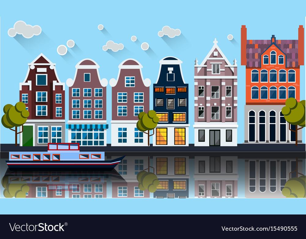 Amsterdam panoramacanalboathouses
