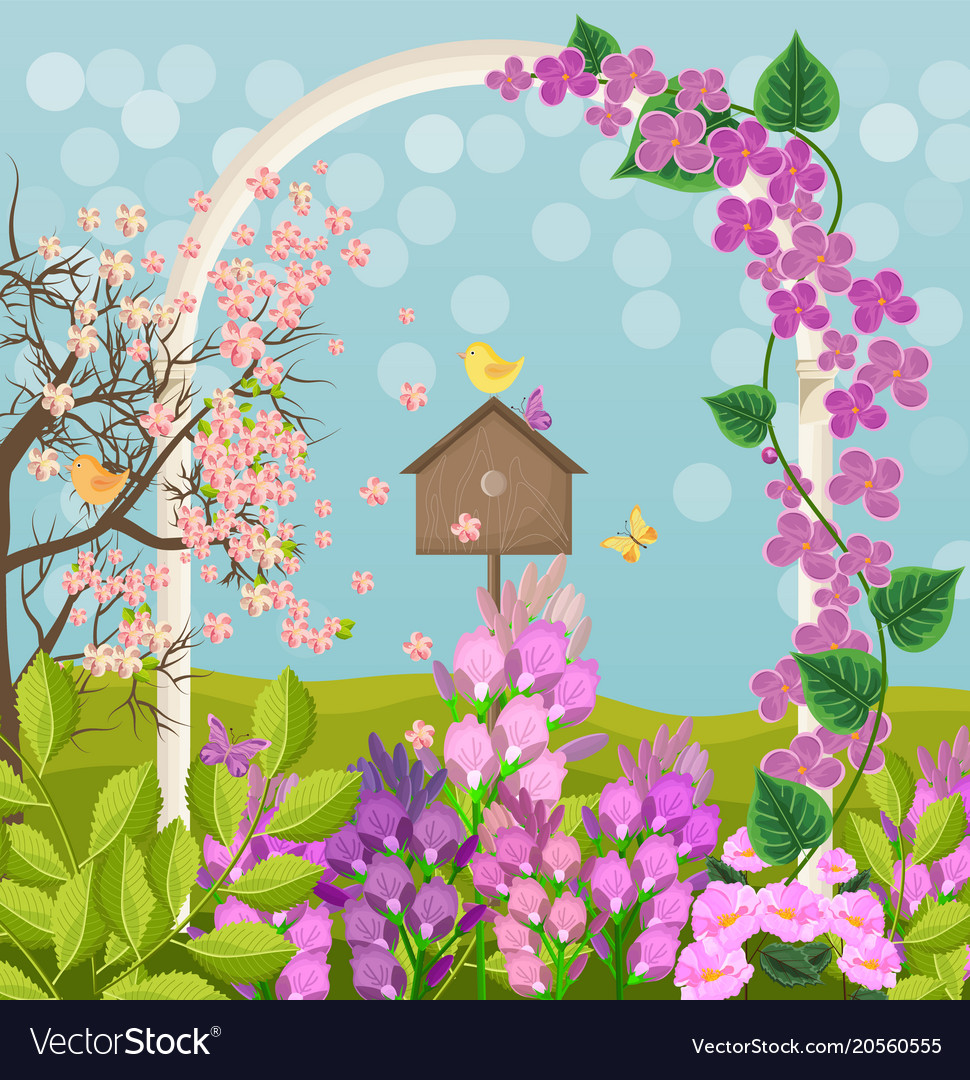 Beautiful spring card with bird house