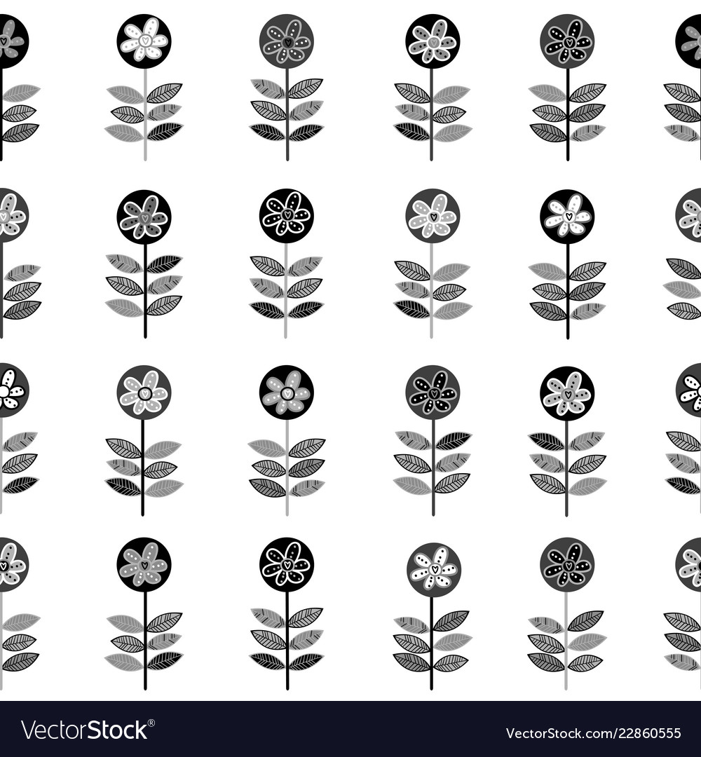 Black and white rows of flowers seamless