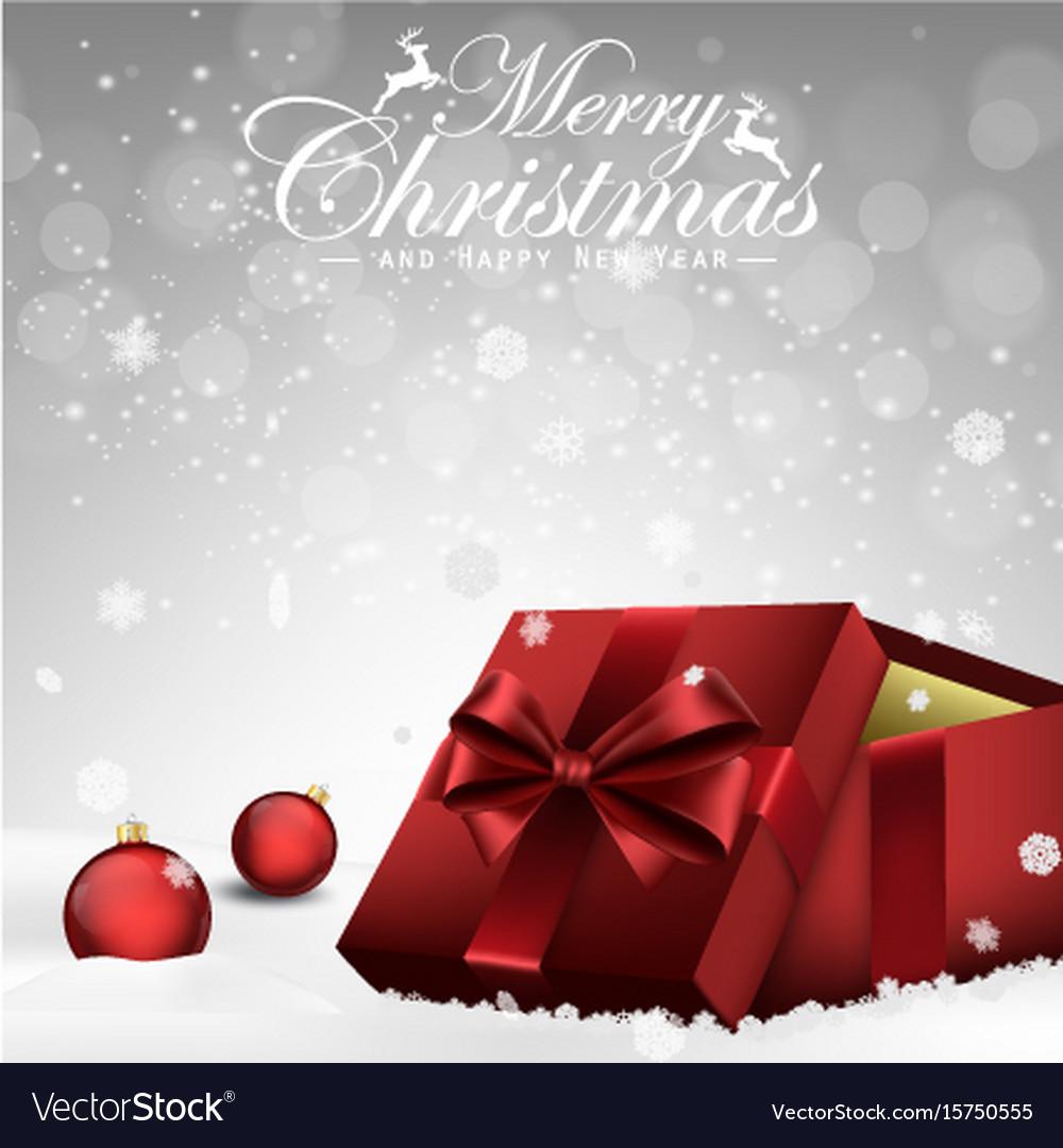 Christmas decorations balls and gift box