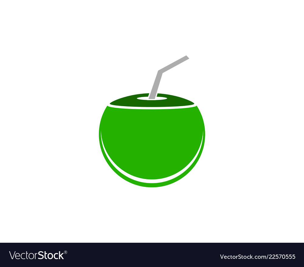 coconut drink beverage icon logo design template vector image