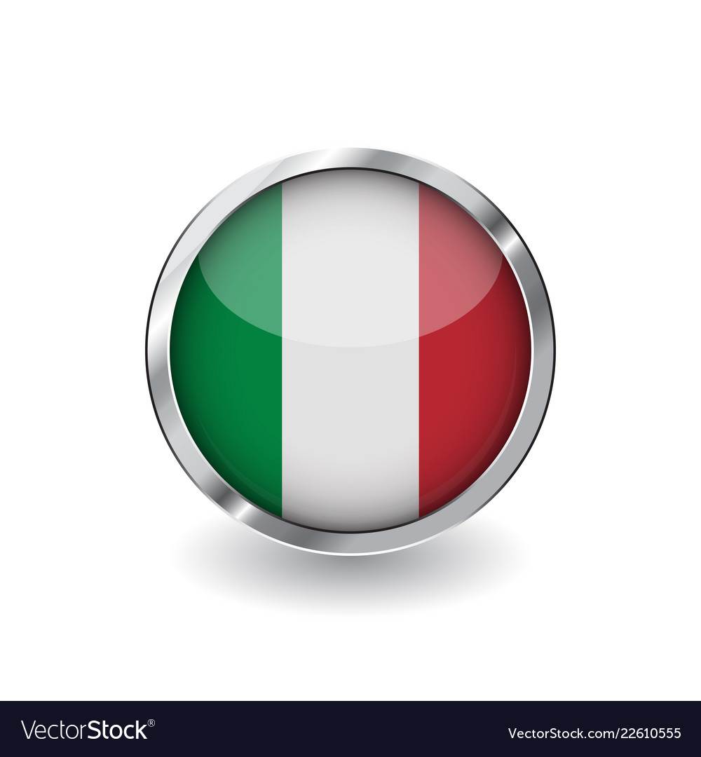 380eaa3e0472 Flag of italy button with metal frame and shadow Vector Image