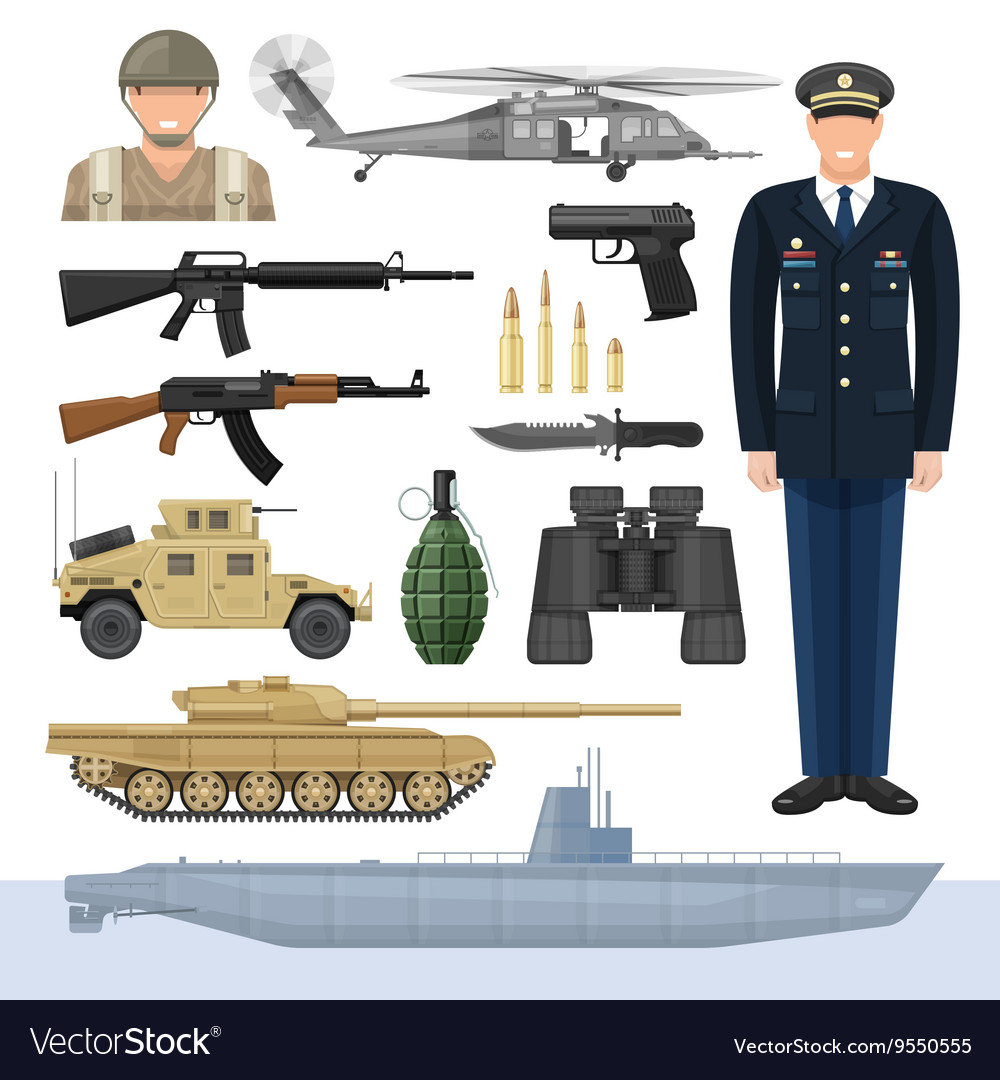 Flat Army Icon Set