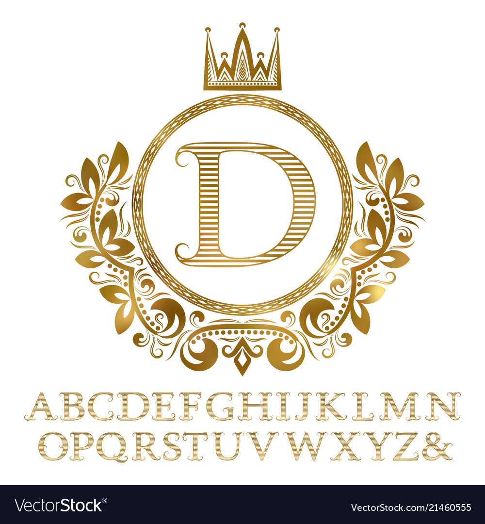 Golden striped letters with initial monogram