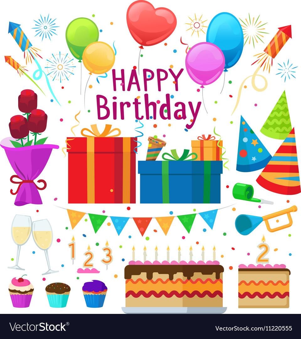 Happy birthday party cartoon elements Royalty Free Vector